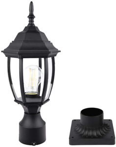 PARTPHONER Outdoor Post Light with Pier Mount, Waterproof Pole Lantern Light Fix