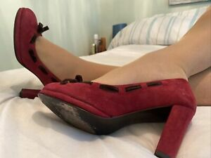 Boden Vivid Red Italian Suede Leather Court Shoes Size 5 EUR 38