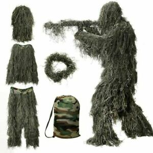 Adult Ghillie Suit Camo Woodland Camouflage Forest Outdoor Hunting 3D 5pcs suit