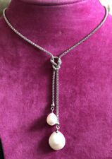Beautiful Sterling Silver And Real Freshwater Pearl Drop Pendant Necklace