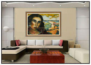 Miguel Martinez Large Pastel Painting On Board Female Portrait Signed Landscape