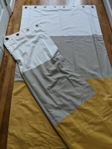 2 Pottery Barn Color Block Blackout Curtain Drapes Grommet Cream Beige Yellow