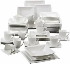 MALACASA 30PCS Square Porcelain Crockery Ceramic Dinner Service Sets Cups Plates