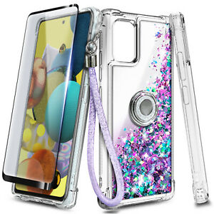 For Samsung Galaxy A51 A71 5G Case Glitter Ring Stand + Tempered Glass & Lanyard