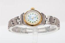 Estate $7000 Blue MOP Emerald Diamond OYSTER Ladies ROLEX 18k Gold SS Watch WTY