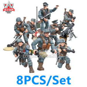 WW2 WWII Military Soldiers German Army Weapon 8PCS Fit Mega Bloks Minifigures