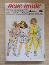 Neue Mode #J55146~Girl's Jumpsuits~Uncut Sealed Pattern~Ages 3,4,5,6,7,8