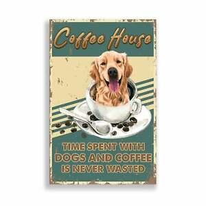 Coffee House Poster, Golden Retriever and Coffee Art Print, Coffee Addict