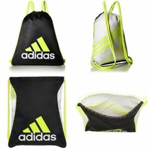Adidas BLACK VOLT BURST Sackpack Sling Backpack School Sport Drawstring NEW NWT