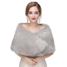 Women's Wedding Dress Matched Wrap Shrug 2018 Bridal Shawl Scarf Faux Fur Stole