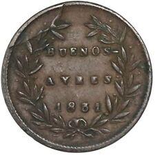 Buenos Aires, Argentina (National Bank), copper 5/10 real (5 decimos), 1831/27.