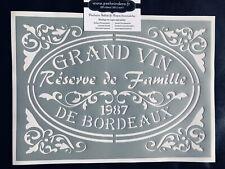 Pochoir Adhésif Réutilisable 30 x 20 cm Médaillon Grand Vin De Bordeaux Ancien