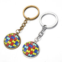 EB_ BH_ KF_ KE_ Colorful Jigsaw Puzzle Glass Pendant Keychain Key Ring Bag Hangi