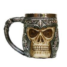 3D Skull Ossuary Beer Coffee Mug Striking Warrior Tankard Viking Drinking Cup DQ