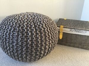 Second Nature Online Natural Dark Grey Knitted Style Braided Footstool Pouffe