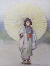 Japón Un Niño Y El Paraguas Original 1901 Color Print Por Mortimer menpes