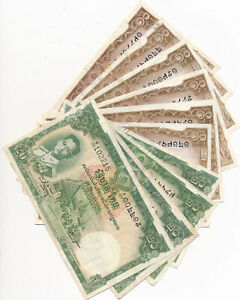 Thailand group of 10 notes~1953 20 baht (4),10 baht (6) crisp  RC0323 combine sh