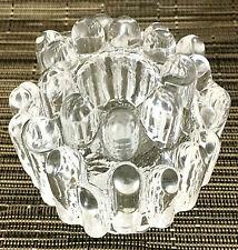 "Kosta Boda Taper Candle Holder Polar Ice MCM Goran Warff Sweden Crystal 3""H EUC"
