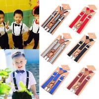 Kids Boys Clip-on Suspenders Elastic Y-Shape Adjustable Braces For Formal Dress