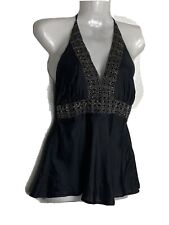 Luxe Arden B . Embellished Black Top . Size XS . 100 % Silk