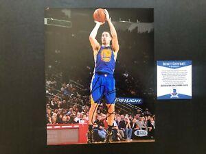 Klay Thompson Rare! signed autographed Warriors Curry 8x10 photo Beckett BAS Coa