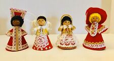 Vintage Handmade It's A Small World Christmas Paper Cloth Dolls Ornaments