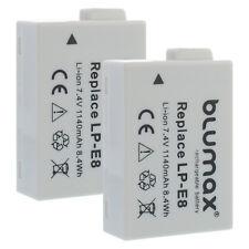 2x Akku für Canon LP-E8 | 65216| EOS 550D 650D 700D Rebel T3i T4i T5i Kiss X4 X5