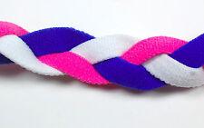 NEW Pink White Blue Braid Hair Band Head Under Sweaty Headband Armour Non Slip