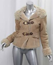 MIU MIU Womens Beige Suede Shearling Fur Leather Peplum Buckle Jacket Coat 38/2
