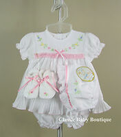 NWT Will'beth White Pleated Ribbon Dress 4pc Newborn 3 6 months Girls w/ bonnet