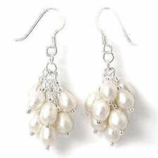 Natural White Akoya Cultured Pearl Grape Dangle Earring Silver Hook