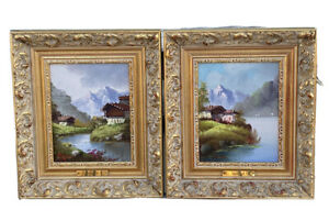 Pair Of Vintage Carlo Mancini Oil On Board Italian Or Swiss Landscapes Listed