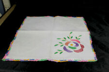 "Coloful Vintage Embroidered Crochet Edge Linen 11"" Hankie"