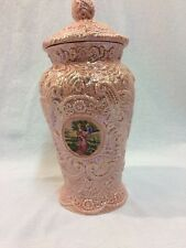 Vintage Porcelain Urn Style Victorian Courting Scene Colonial Pink