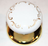 Antique Style Door Knobs White w Gold Leaf Scroll Pattern Gainsborough Hardware