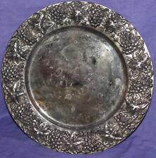 Vintage ornate floral metal platter