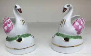 UNUSUAL PAIR OF MINIATURE ANTIQUE STAFFORDSHIRE PORCELAIN SWAN PEN STANDS