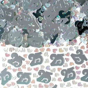 Silver 25s Wedding Table Confetti 25th Anniversary Sprinkles Table decorations