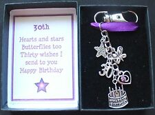 Birthday 30th Keyring With Purple Rhinestone Heart Boxed Nice Gift