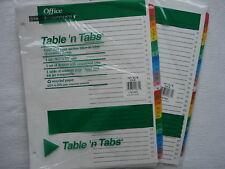 TWO sets NEW Office Essentials TABLE 'N TABS multi-color 31 tab divider set LOT