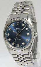 Rolex Oyster Perpetual No Date Stainless Steel Blue Diamond Dial Mens Watch 1018
