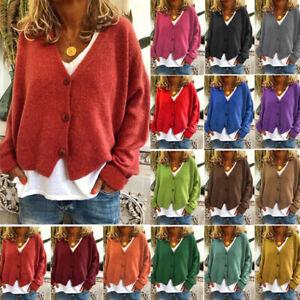 UK Womens Long Sleeve Tops Coat Ladies Autumn Jumper Sweater Cardigan Plus Size
