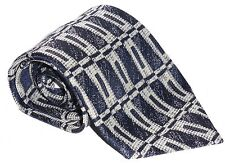 100% Polyester Tie / Men's Necktie - Blue / Grey Square Rectangle Style Pattern