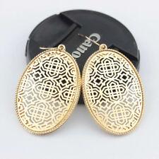 New Fashion Openwork Gold Filigree Oval Shape Geometric Statement Drop Earrings