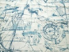 Blue White Nautical Ships Cotton Fabric Home Decor 48