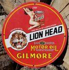 1930 GILMORE LION HEAD PORCELAIN SIGN GAS RHINO LEOPARD ELEPHANT BUFFALO SAFARI