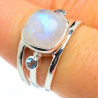 Rainbow Moonstone, Blue Topaz 925 Sterling Silver Ring Size 8 Jewelry R45986