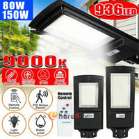 900000LM 150W Commercial Solar LED Street Light IP67 Area Road Lamp+Remote+Pole