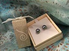 "HONORA Pewter/Dark Silver CULTURED STUD EARRINGS  WITH ""HAPPY BACKS"" NEW IN BOX"