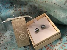 """HONORA Pewter/Dark Silver CULTURED STUD EARRINGS  WITH """"HAPPY BACKS"""" NEW IN BOX"""